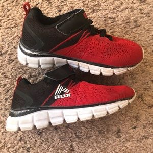 RBX red and black toddler sneakers, size 8